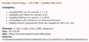 K-Lite Codec Pack Mega Version 10.8.0 Mega ~ 35.3 MB ~ October 6th 2014